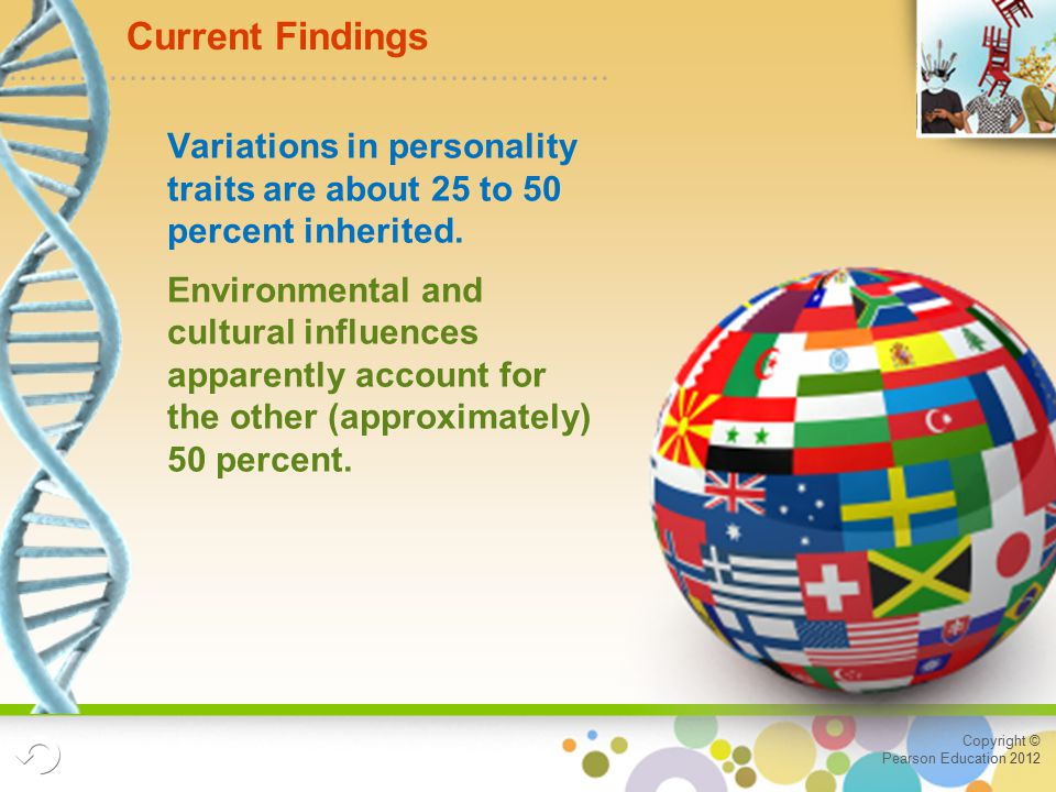 Copyright © Pearson Education 2012 Current Findings Variations in personality traits are about 25 to 50 percent inherited.