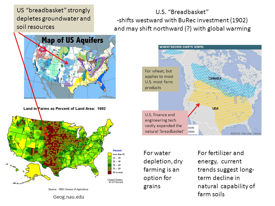 """U.S. """"Breadbasket"""" -shifts westward with BuRec investment (1902) and may shift northward (?) with global warming For wheat, but applies to most U.S. m"""