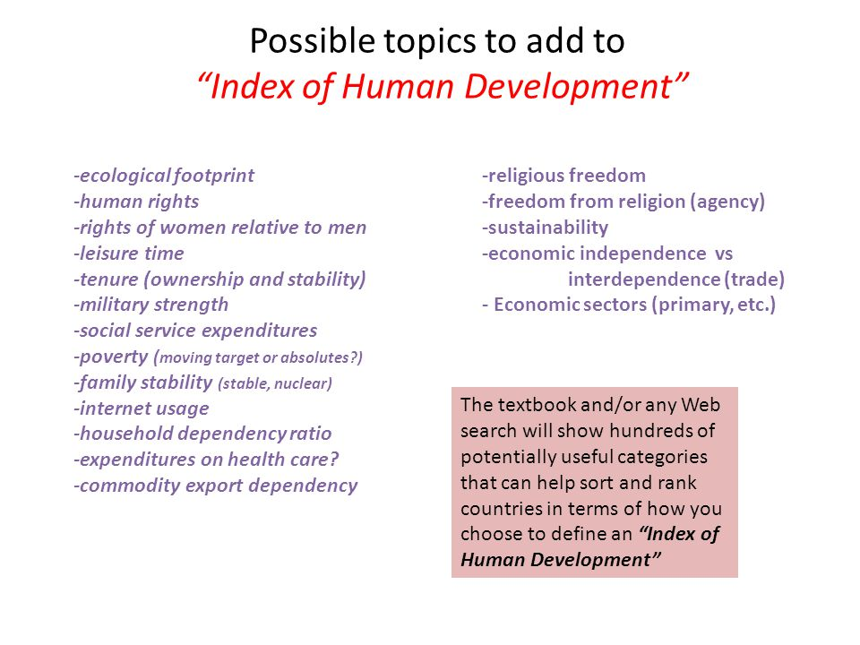 """Possible topics to add to """"Index of Human Development"""" -ecological footprint -human rights -rights of women relative to men -leisure time -tenure (own"""