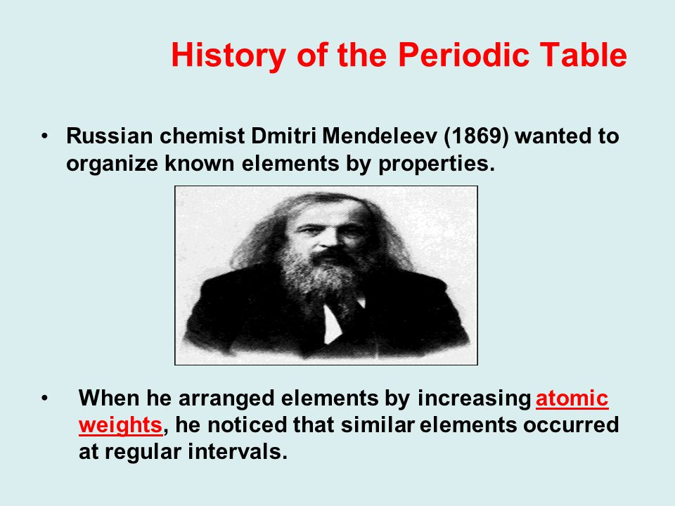 History of the Periodic Table Russian chemist Dmitri Mendeleev (1869) wanted to organize known elements by properties.