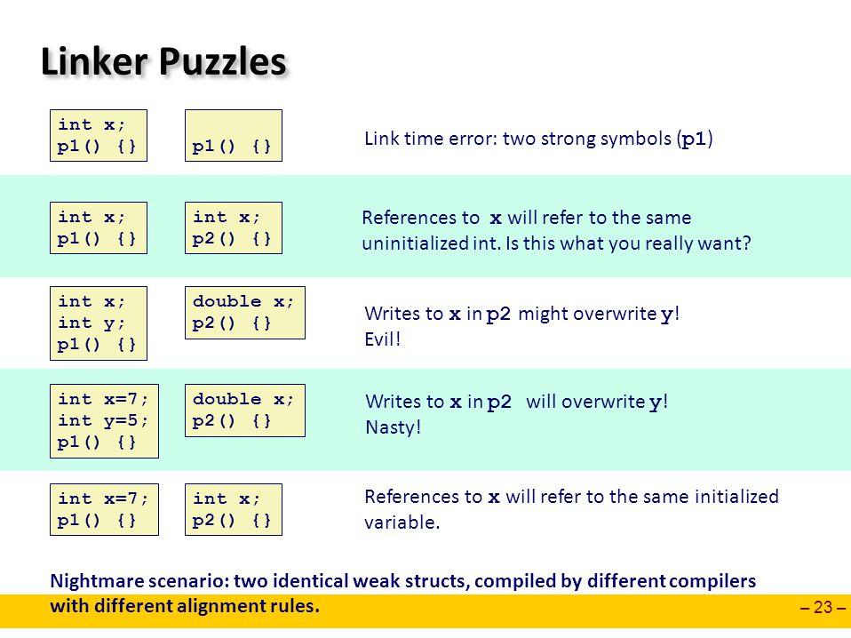 – 23 – Linker Puzzles int x; p1() {} int x; p2() {} int x; int y; p1() {} double x; p2() {} int x=7; int y=5; p1() {} double x; p2() {} int x=7; p1()