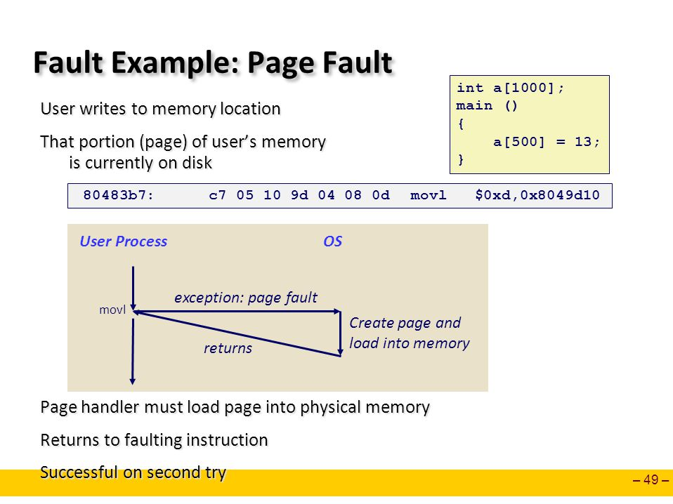 – 49 – Fault Example: Page Fault User writes to memory location That portion (page) of user's memory is currently on disk Page handler must load page