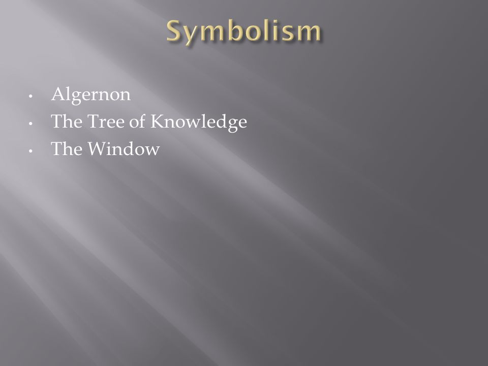 Algernon The Tree of Knowledge The Window