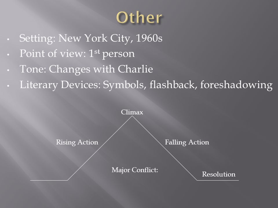Setting: New York City, 1960s Point of view: 1 st person Tone: Changes with Charlie Literary Devices: Symbols, flashback, foreshadowing Falling ActionRising Action Climax Major Conflict: Resolution