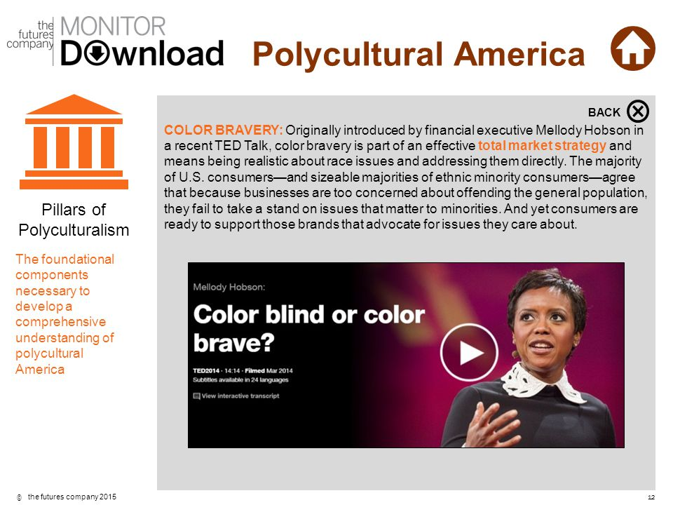 ©12 the futures company 2015 Polycultural America COLOR BRAVERY: Originally introduced by financial executive Mellody Hobson in a recent TED Talk, col