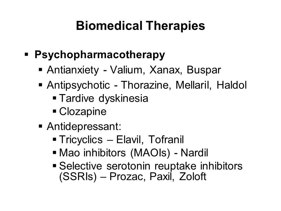 Biomedical Therapies  Psychopharmacotherapy  Antianxiety - Valium, Xanax, Buspar  Antipsychotic - Thorazine, Mellaril, Haldol  Tardive dyskinesia