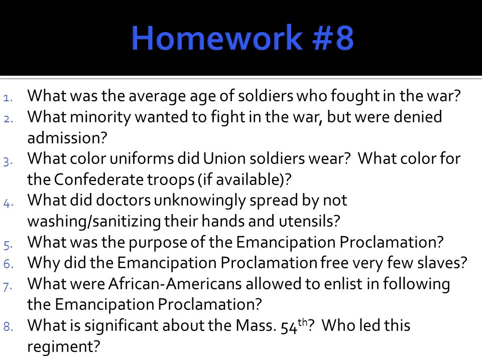 1. What was the average age of soldiers who fought in the war.