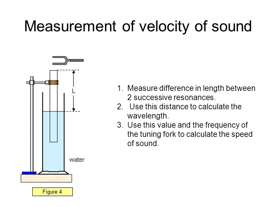 Measurement of velocity of sound 1.Measure difference in length between 2 successive resonances.