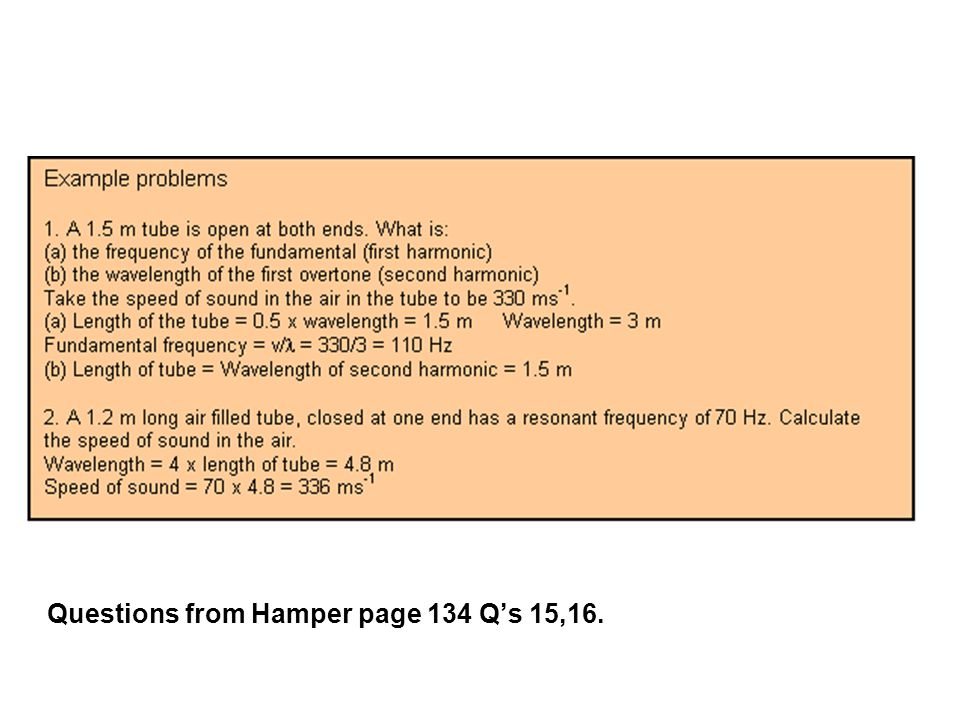 Questions from Hamper page 134 Q's 15,16.