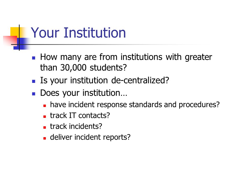 Survey of Report Value Cause of incident increase or decrease: 34% awareness and training 21% policy and procedures 21% security infrastructure 14% security staff 10% other 100% were familiar with UF policy Degree of policy compliance 57% very compliant 36% mostly compliant 7% somewhat compliant