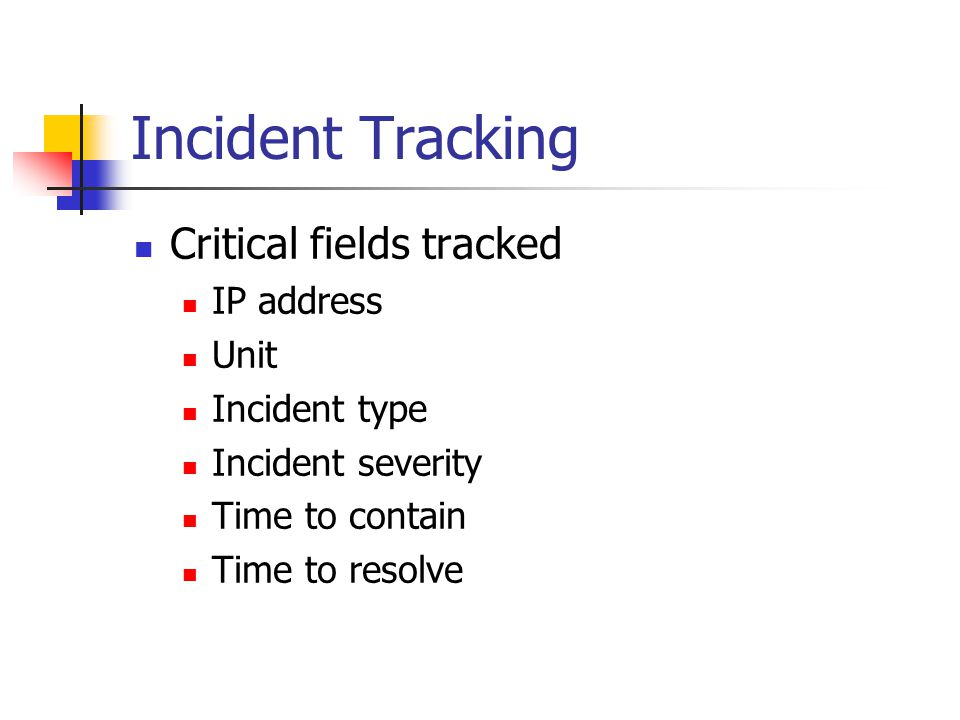 Incident Tracking Critical fields tracked IP address Unit Incident type Incident severity Time to contain Time to resolve