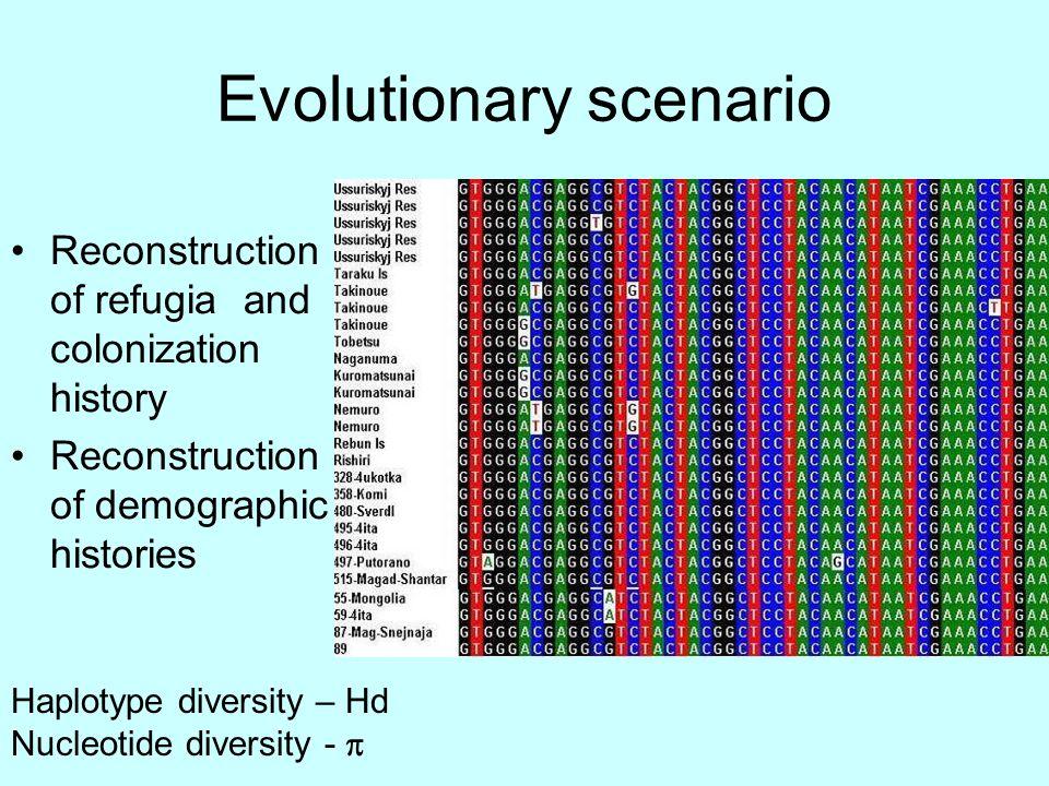 Evolutionary scenario Reconstruction of refugia and colonization history Reconstruction of demographic histories Haplotype diversity – Hd Nucleotide diversity - 