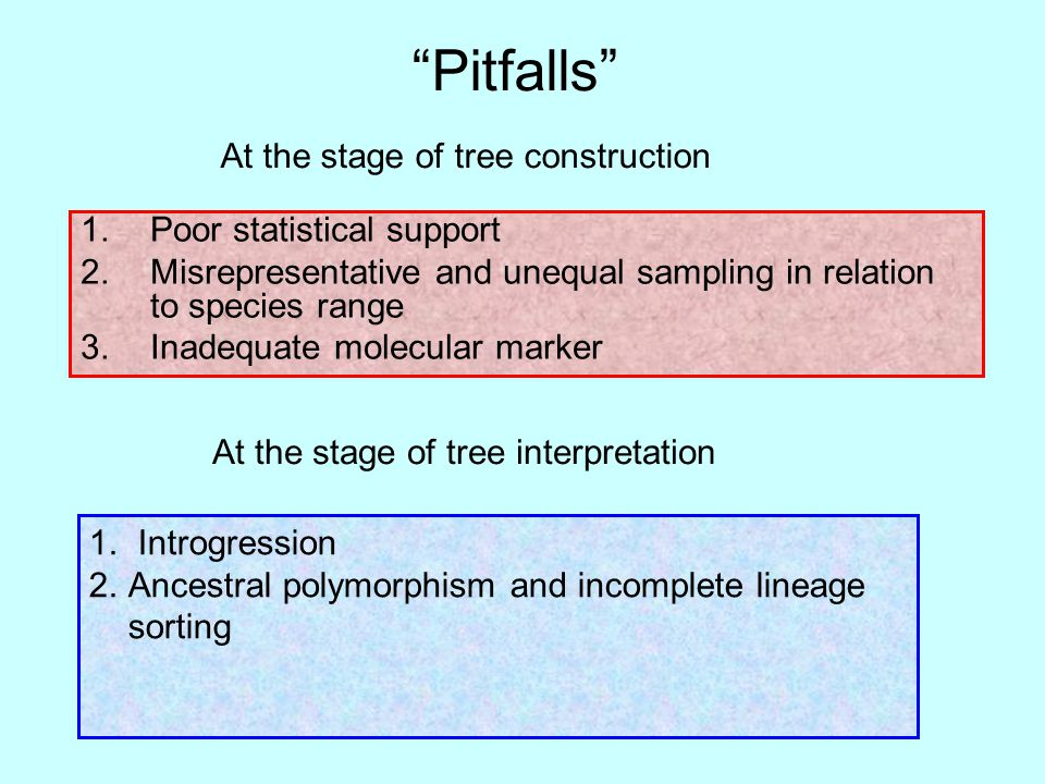 Pitfalls 1.Poor statistical support 2.Misrepresentative and unequal sampling in relation to species range 3.Inadequate molecular marker At the stage of tree construction 1.