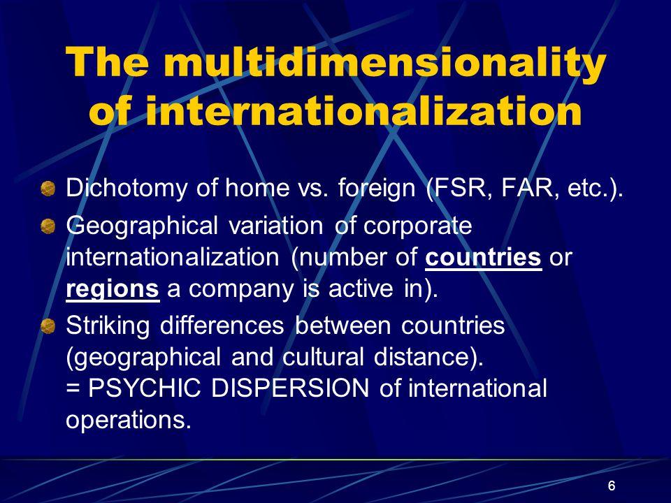 6 The multidimensionality of internationalization Dichotomy of home vs.