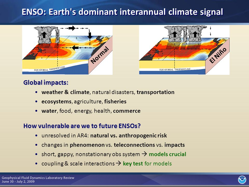 3 ENSO: Earth s dominant interannual climate signal Global impacts: weather & climate, natural disasters, transportation ecosystems, agriculture, fisheries water, food, energy, health, commerce El Niño How vulnerable are we to future ENSOs.