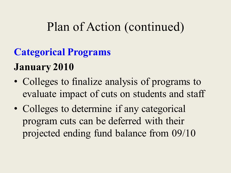 Plan of Action (continued) Categorical Programs January 2010 Colleges to finalize analysis of programs to evaluate impact of cuts on students and staf