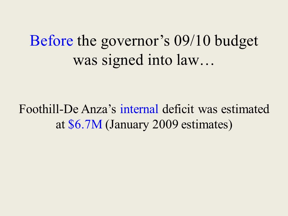 Before the governor's 09/10 budget was signed into law… Foothill-De Anza's internal deficit was estimated at $6.7M (January 2009 estimates)