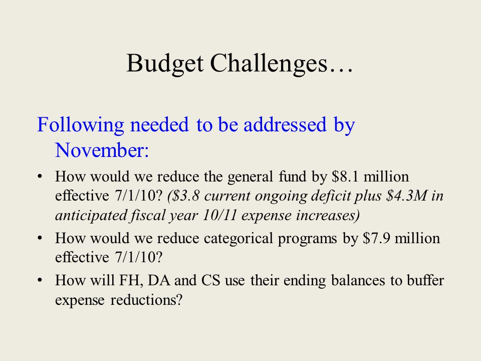 Budget Challenges… Following needed to be addressed by November: How would we reduce the general fund by $8.1 million effective 7/1/10? ($3.8 current
