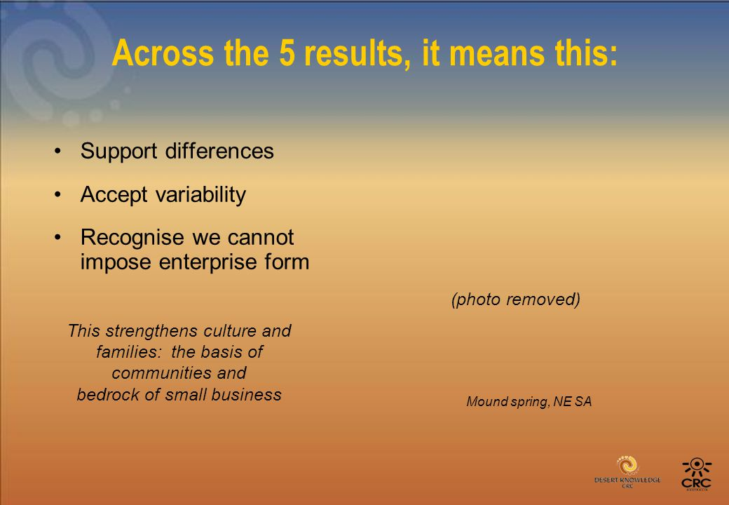 Across the 5 results, it means this: Support differences Accept variability Recognise we cannot impose enterprise form This strengthens culture and families: the basis of communities and bedrock of small business Mound spring, NE SA (photo removed)