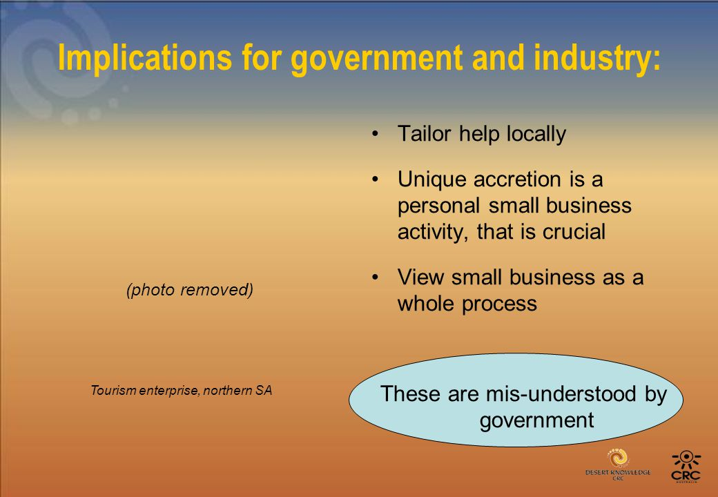 Implications for government and industry: Tailor help locally Unique accretion is a personal small business activity, that is crucial View small business as a whole process These are mis-understood by government Tourism enterprise, northern SA (photo removed)