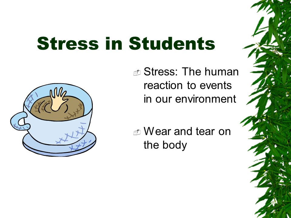 Stress in Students  Stress: The human reaction to events in our environment  Wear and tear on the body