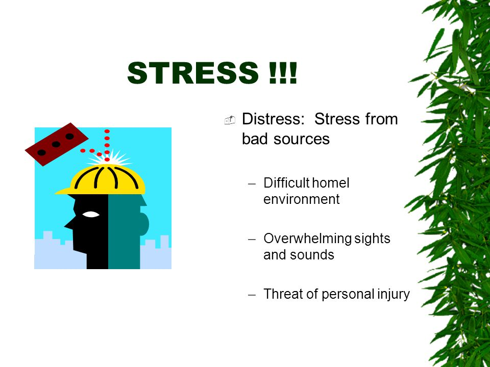 STRESS!!!  Eustress: Good Stress –Getting into college –Performing Arts –Sports Competition