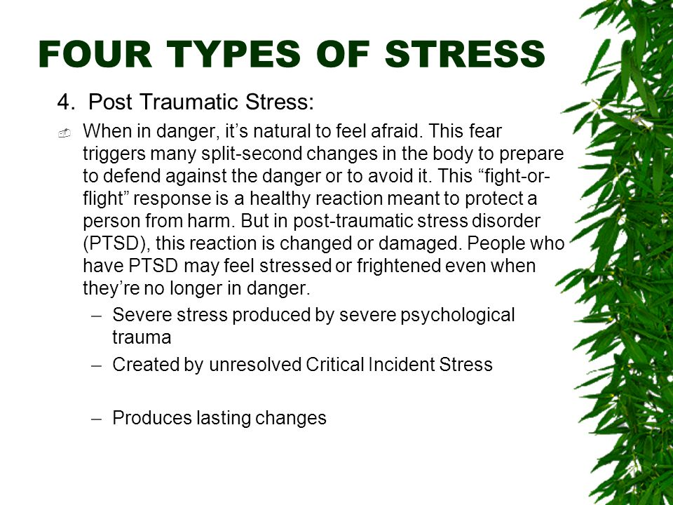 FOUR TYPES OF STRESS 4.Post Traumatic Stress:  When in danger, it's natural to feel afraid.