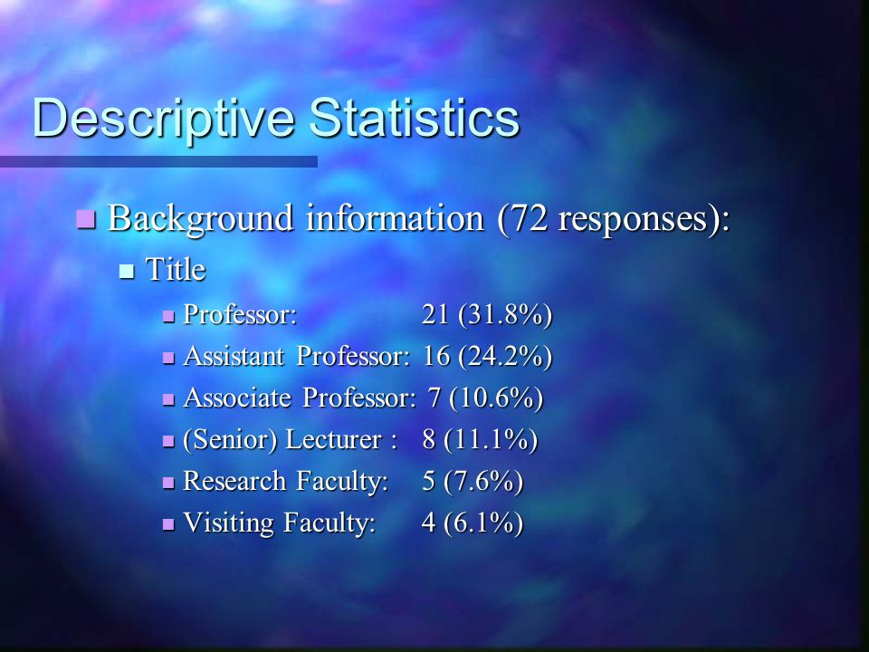 Descriptive Statistics Background information (72 responses): Background information (72 responses): Title Title Professor:21 (31.8%) Professor:21 (31.8%) Assistant Professor:16 (24.2%) Assistant Professor:16 (24.2%) Associate Professor: 7 (10.6%) Associate Professor: 7 (10.6%) (Senior) Lecturer :8 (11.1%) (Senior) Lecturer :8 (11.1%) Research Faculty:5 (7.6%) Research Faculty:5 (7.6%) Visiting Faculty:4 (6.1%) Visiting Faculty:4 (6.1%)