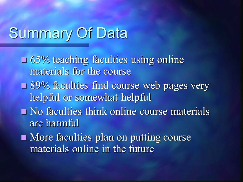 Summary Of Data 65% teaching faculties using online materials for the course 65% teaching faculties using online materials for the course 89% faculties find course web pages very helpful or somewhat helpful 89% faculties find course web pages very helpful or somewhat helpful No faculties think online course materials are harmful No faculties think online course materials are harmful More faculties plan on putting course materials online in the future More faculties plan on putting course materials online in the future