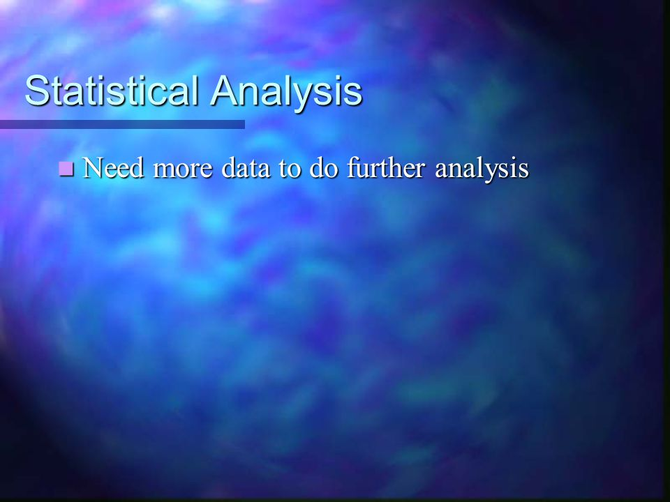 Statistical Analysis Need more data to do further analysis Need more data to do further analysis