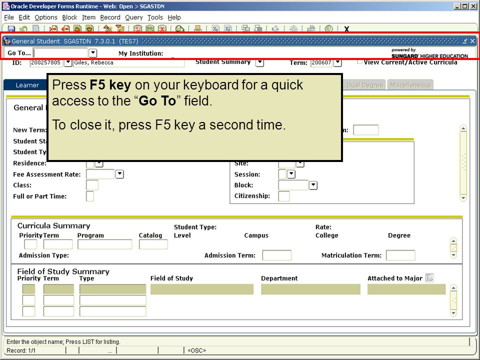 Press F5 key on your keyboard for a quick access to the Go To field.
