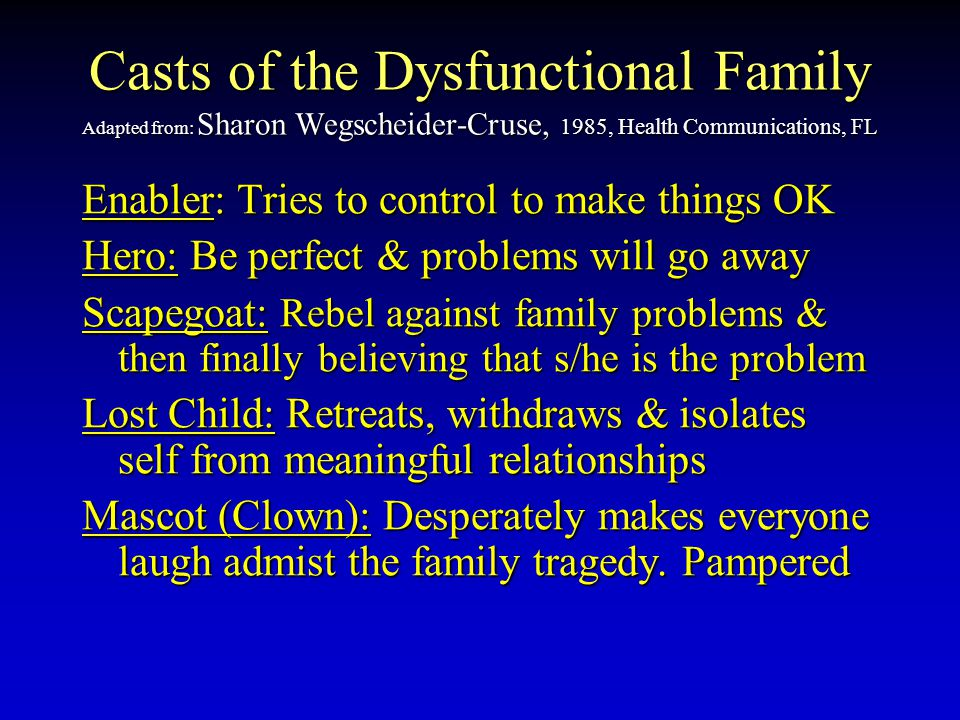 Casts of the Dysfunctional Family Adapted from: Sharon Wegscheider-Cruse, 1985, Health Communications, FL Enabler: Enabler: Tries to control to make t