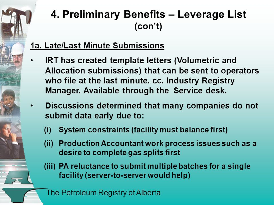 The Petroleum Registry of Alberta 4. Preliminary Benefits – Leverage List (con't) 1a. Late/Last Minute Submissions IRT has created template letters (V
