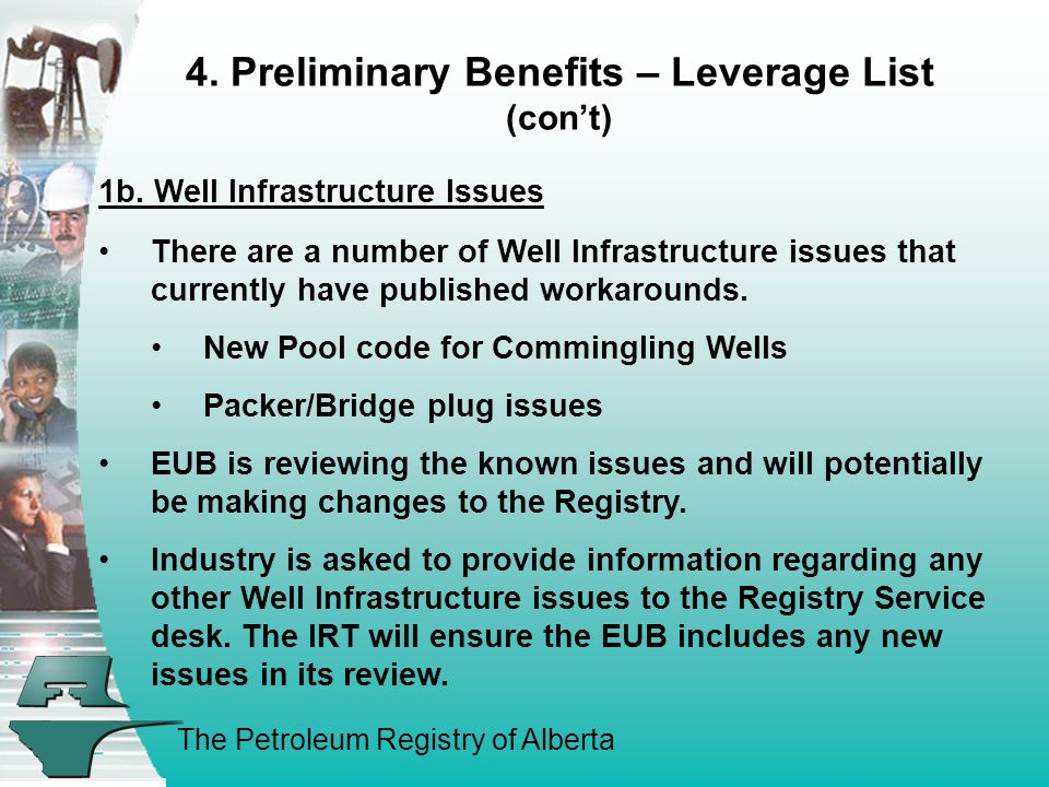 The Petroleum Registry of Alberta 4. Preliminary Benefits – Leverage List (con't) 1b. Well Infrastructure Issues There are a number of Well Infrastruc