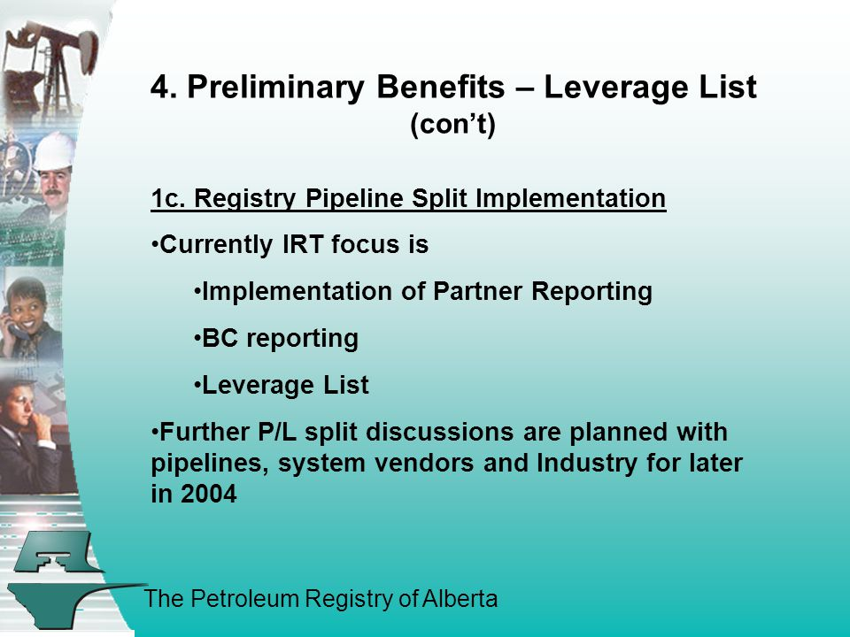 The Petroleum Registry of Alberta 4. Preliminary Benefits – Leverage List (con't) 1c. Registry Pipeline Split Implementation Currently IRT focus is Im