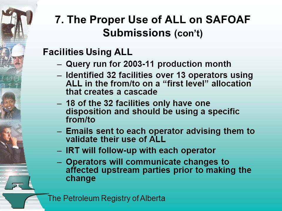The Petroleum Registry of Alberta 7. The Proper Use of ALL on SAFOAF Submissions (con't) Facilities Using ALL –Query run for 2003-11 production month