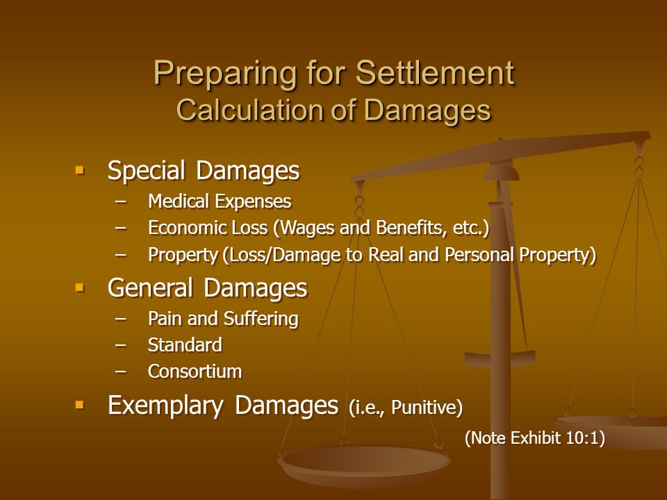Preparing for Settlement Calculation of Damages  Special Damages –Medical Expenses –Economic Loss (Wages and Benefits, etc.) –Property (Loss/Damage t
