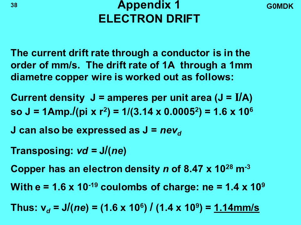 G0MDK 38 Appendix 1 ELECTRON DRIFT The current drift rate through a conductor is in the order of mm/s.