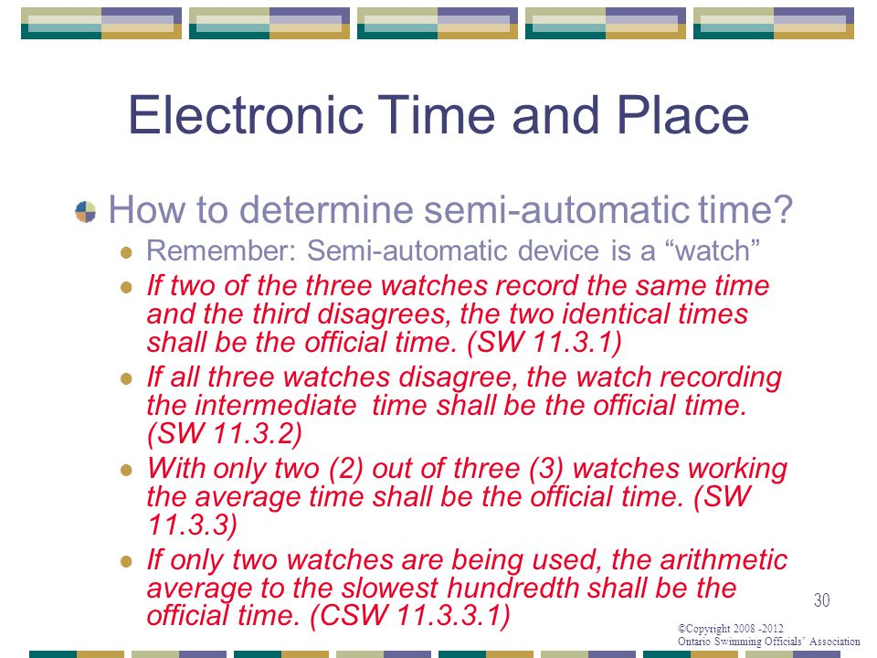 ©Copyright 2008 -2012 Ontario Swimming Officials' Association Electronic Time and Place How to determine semi-automatic time.