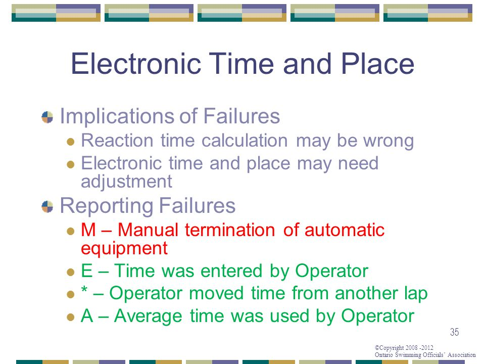 ©Copyright 2008 -2012 Ontario Swimming Officials' Association Electronic Time and Place Implications of Failures Reaction time calculation may be wron