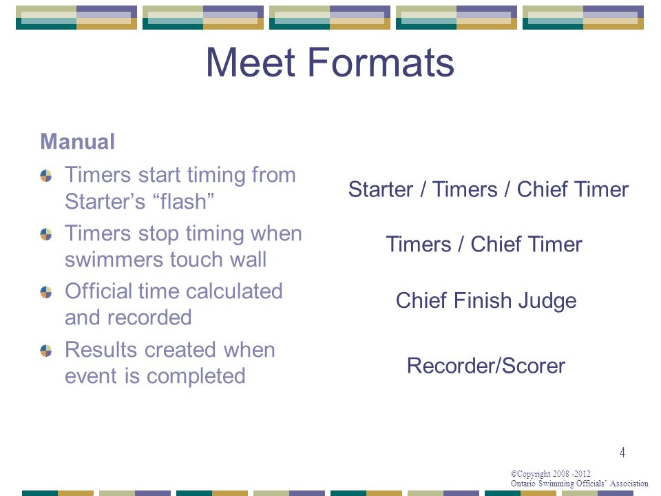 "©Copyright 2008 -2012 Ontario Swimming Officials' Association Meet Formats Manual Timers start timing from Starter's ""flash"" Timers stop timing when s"