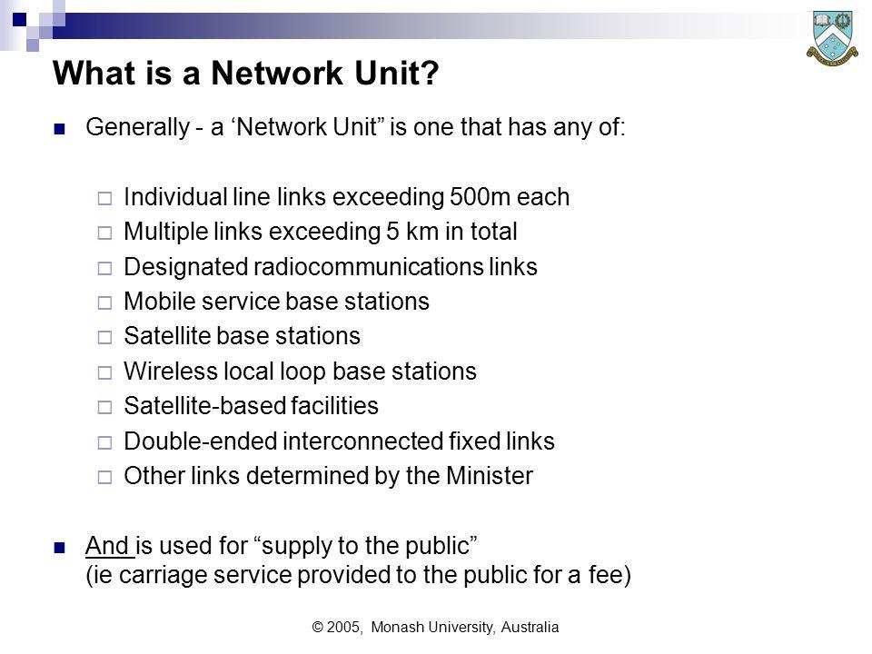 © 2005, Monash University, Australia What is a Network Unit.
