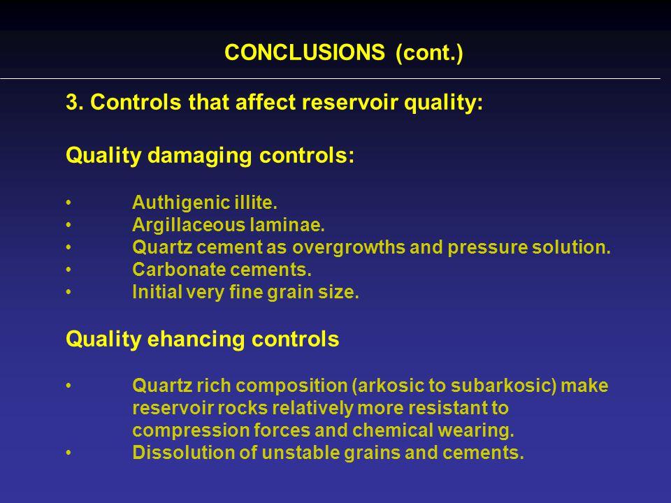 CONCLUSIONS (cont.) 3. Controls that affect reservoir quality: Quality damaging controls: Authigenic illite. Argillaceous laminae. Quartz cement as ov