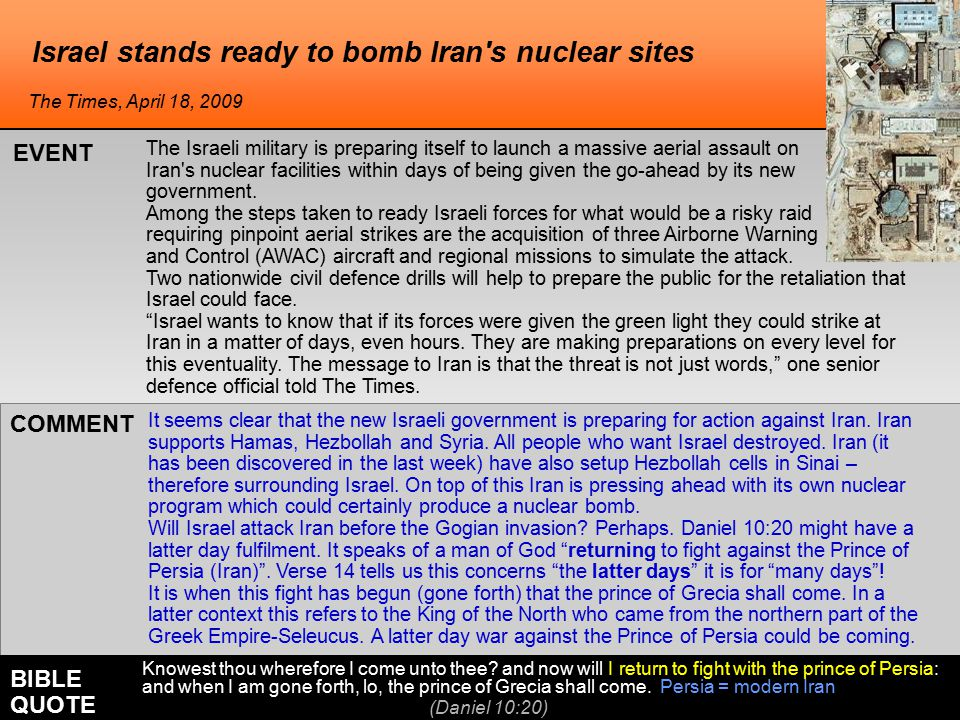 Israel stands ready to bomb Iran's nuclear sites It seems clear that the new Israeli government is preparing for action against Iran. Iran supports Ha