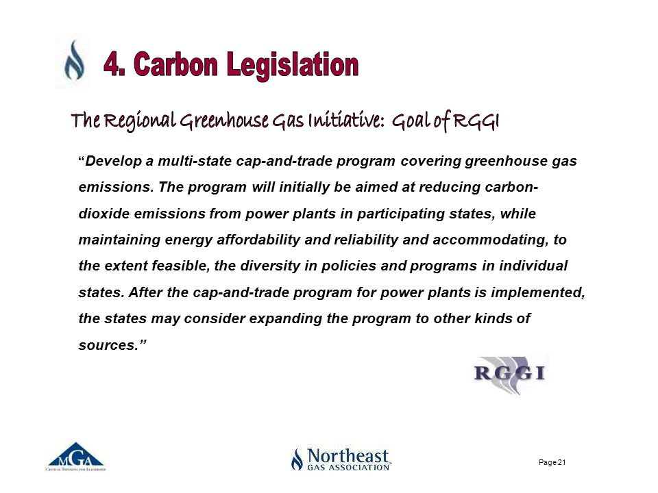 Page 21 Develop a multi-state cap-and-trade program covering greenhouse gas emissions.