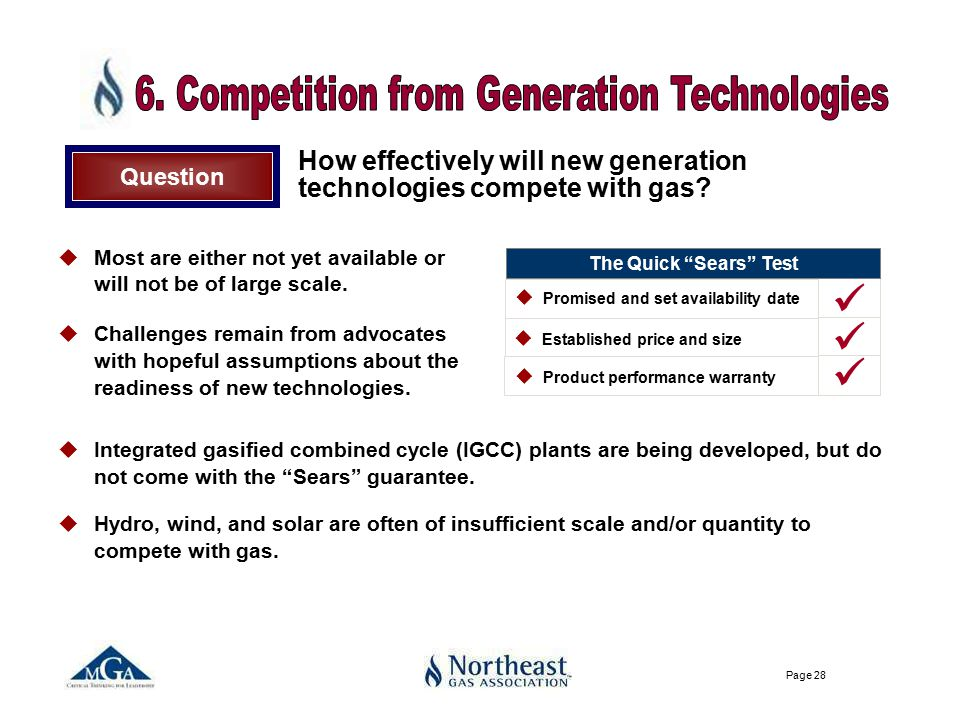 Page 28 How effectively will new generation technologies compete with gas.