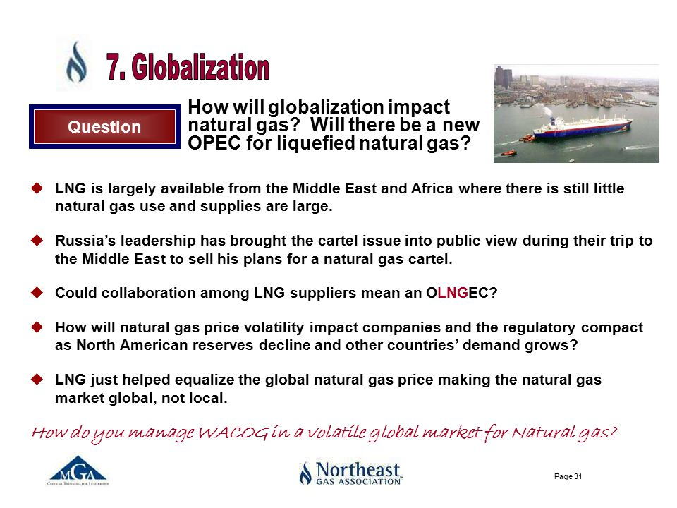 Page 31 Question How will globalization impact natural gas.