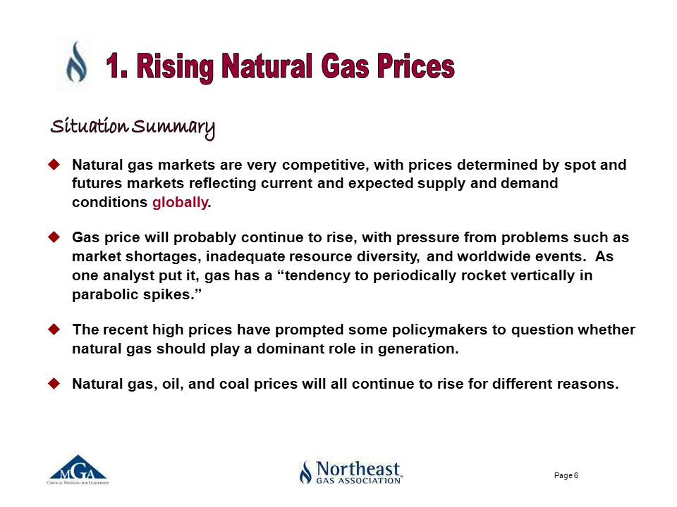 Page 6 uNatural gas markets are very competitive, with prices determined by spot and futures markets reflecting current and expected supply and demand conditions globally.
