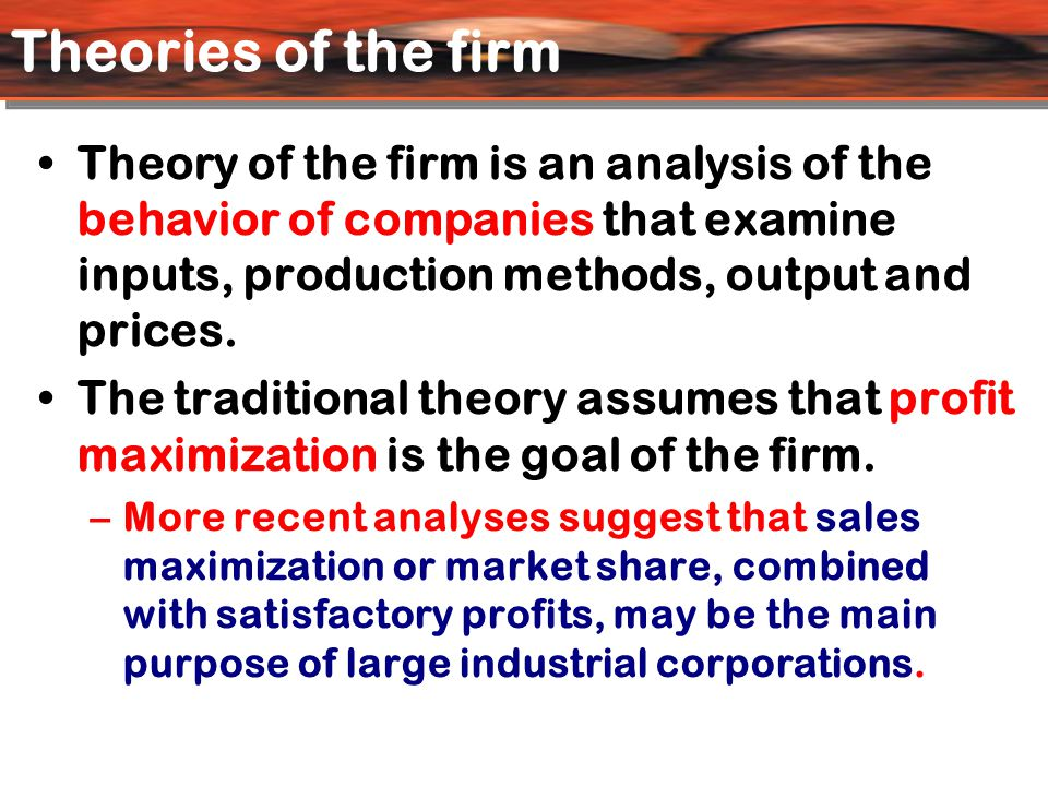 Marris's Theory of Growth Maximization Goal of firm in Marris's model is the maximisation of the balanced rate of growth of the firm, i.e., maximisation of the rate of growth of demand for the products and the growth of its capital supply.