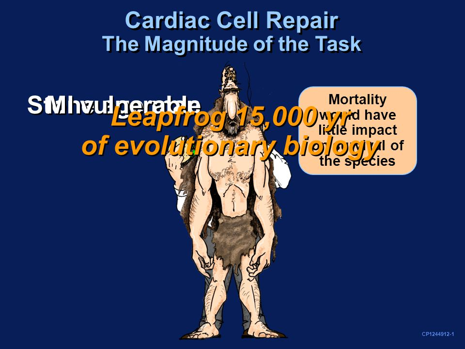 Stone age man MI vulnerable Cardiac Cell Repair The Magnitude of the Task Mortality would have little impact on survival of the species CP1244912-1 Leapfrog 15,000 yr of evolutionary biology Leapfrog 15,000 yr of evolutionary biology